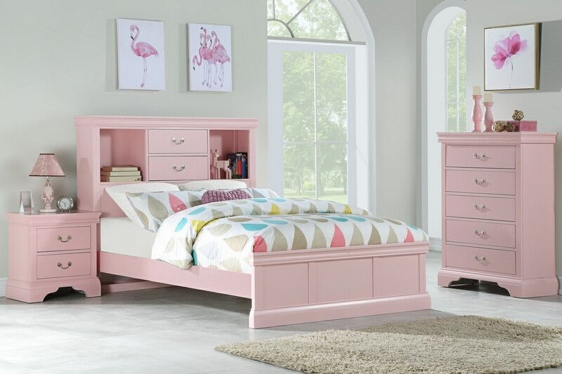 Poundex F9424t 3 Pc Bookcase Headboard Light Pink Finish Wood Twin
