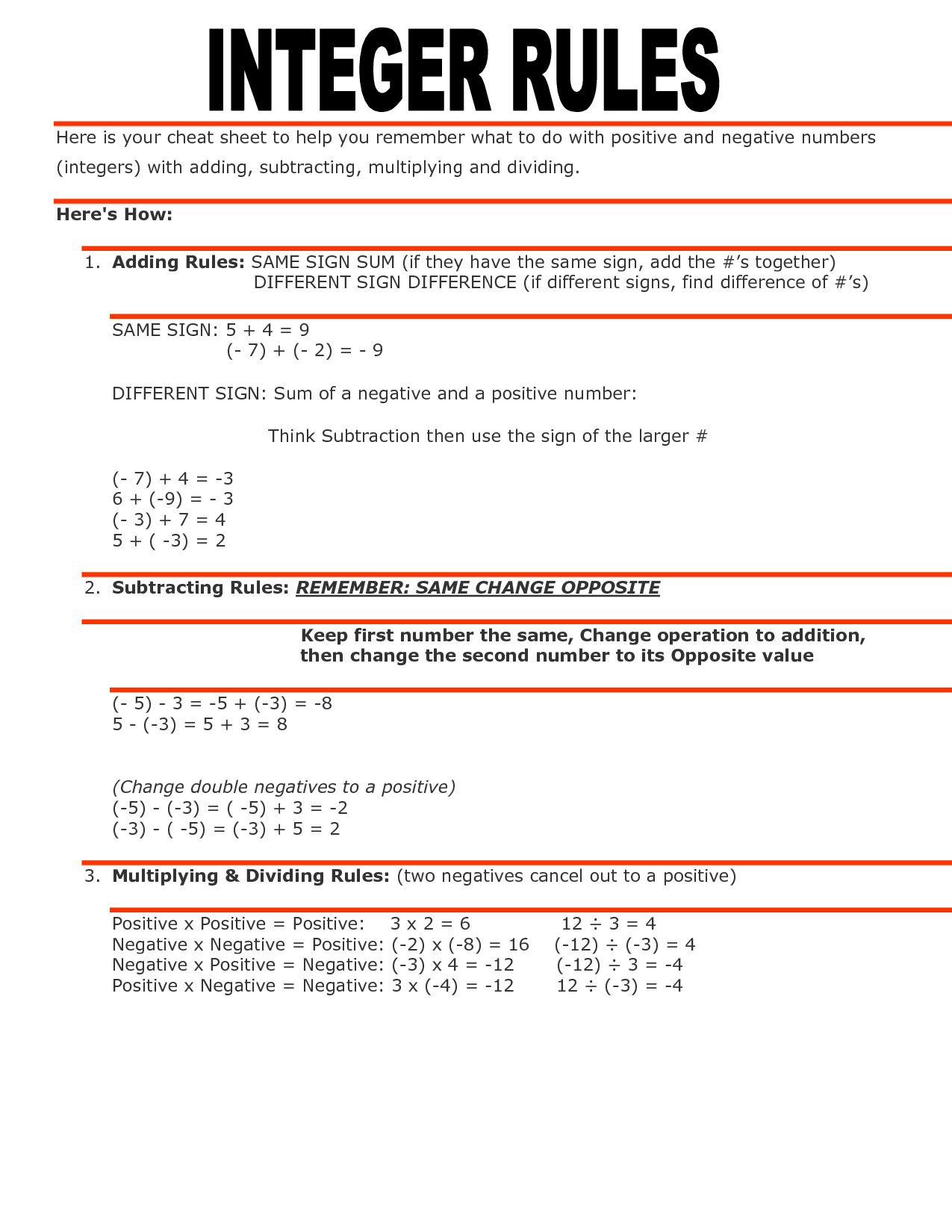 Worksheets Adding And Subtracting Integers Rules integer rules httpimg docstoccdn comthumborig114840275 png comthumborig