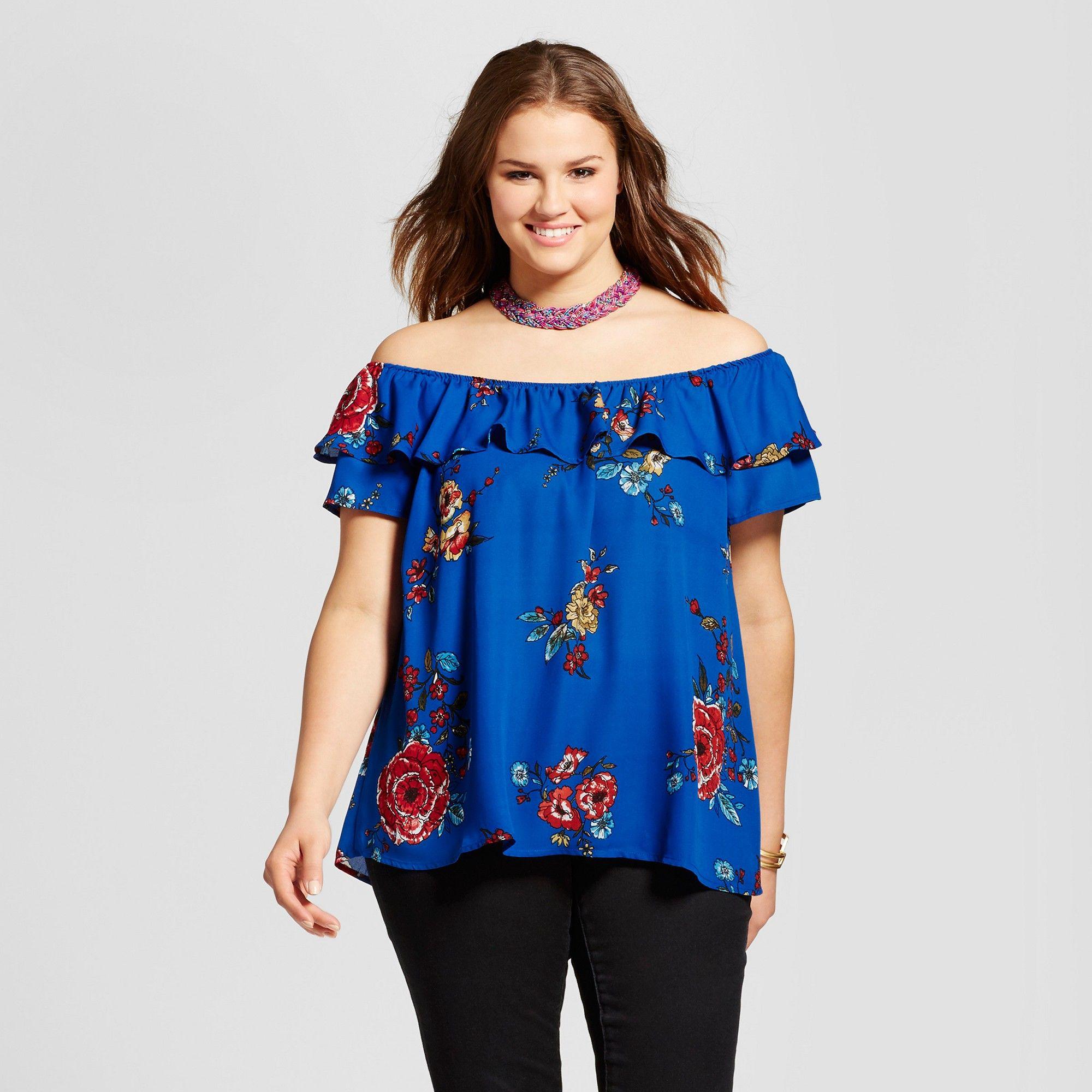 b91e966a6d90e5 Women s Plus Size Off the Shoulder Floral Ruffle Top - Xhilaration Blue 3X