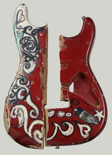 fragment of fender stratocaster electric guitar burned and smashed by jimi hendrix at the. Black Bedroom Furniture Sets. Home Design Ideas