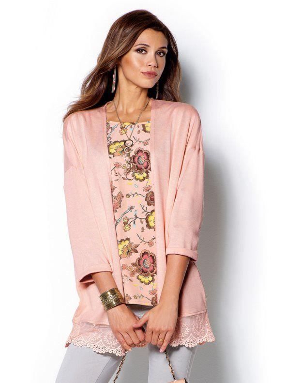 0383172a Chaqueta mujer manga 3/4 con blonda | Chaquetas, abrigos y jerseys ...