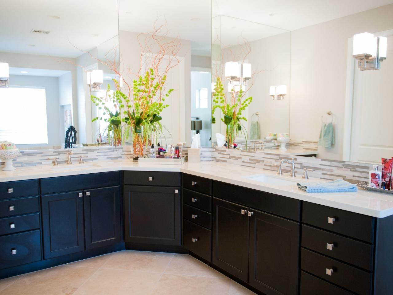 This Large Bathroom Has A Vanity To Match Two Vanities