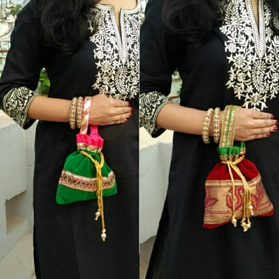 Designer potli bags just for 190/-inr..red n green potli.. Absolutely love them..