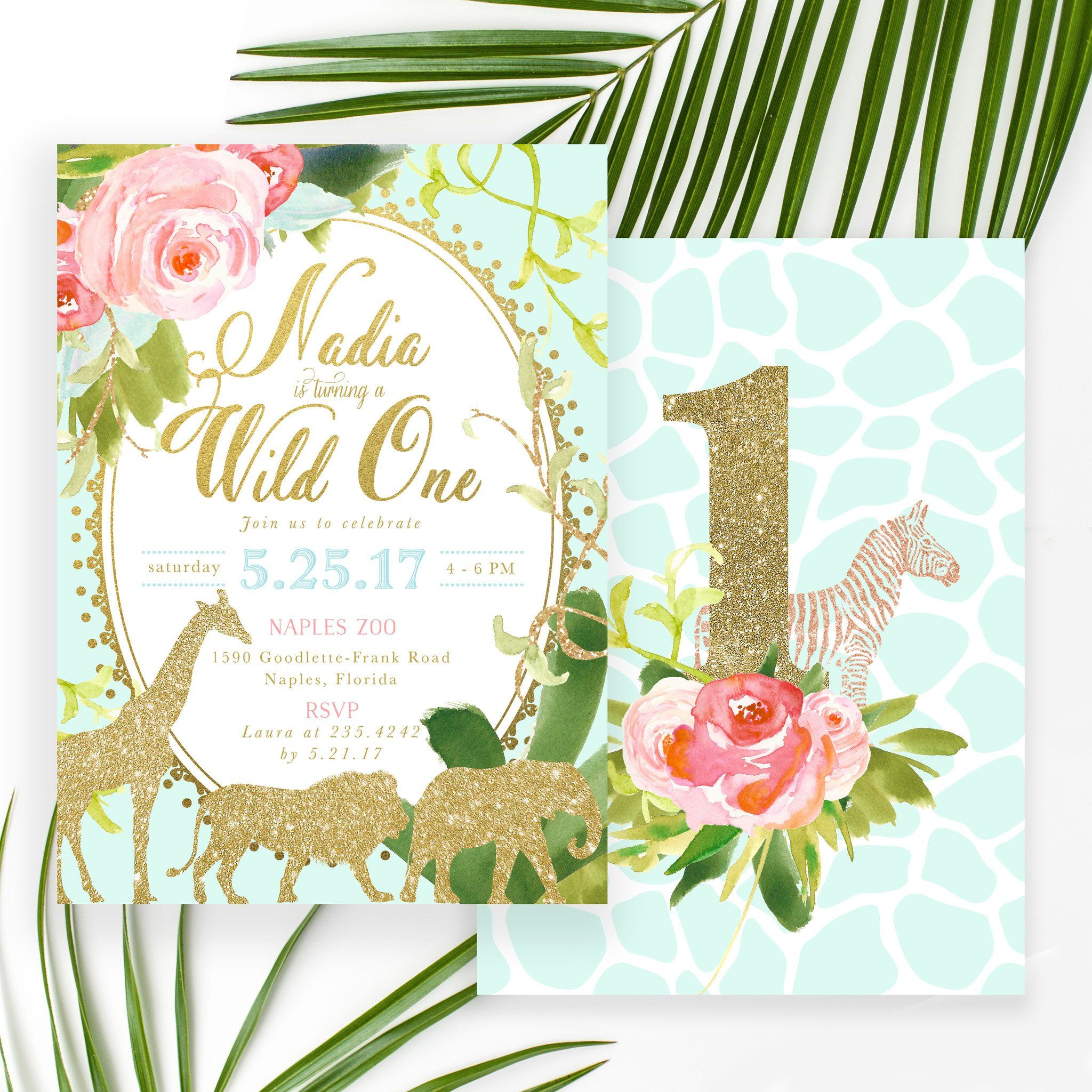 Glam Safari Jungle Girl First Birthday Invitation Tropical Flowers Giraffe Lion Elephant Gold Mint Green 1st Party Invite