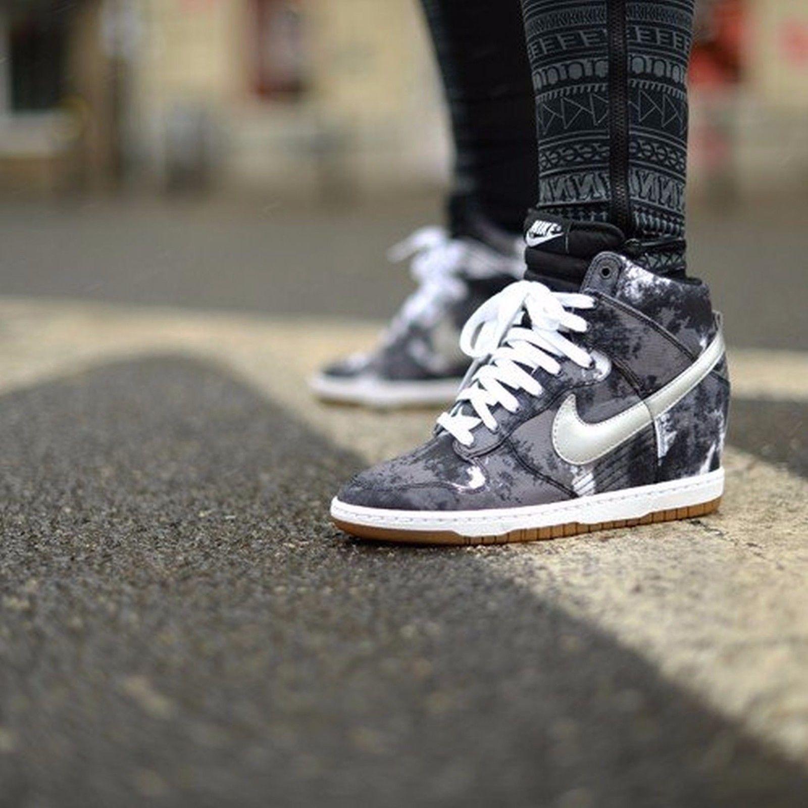 Nike Dunk Hi Sky Print Womens Shoes Size 7 543258-004 Black Metallic Silver