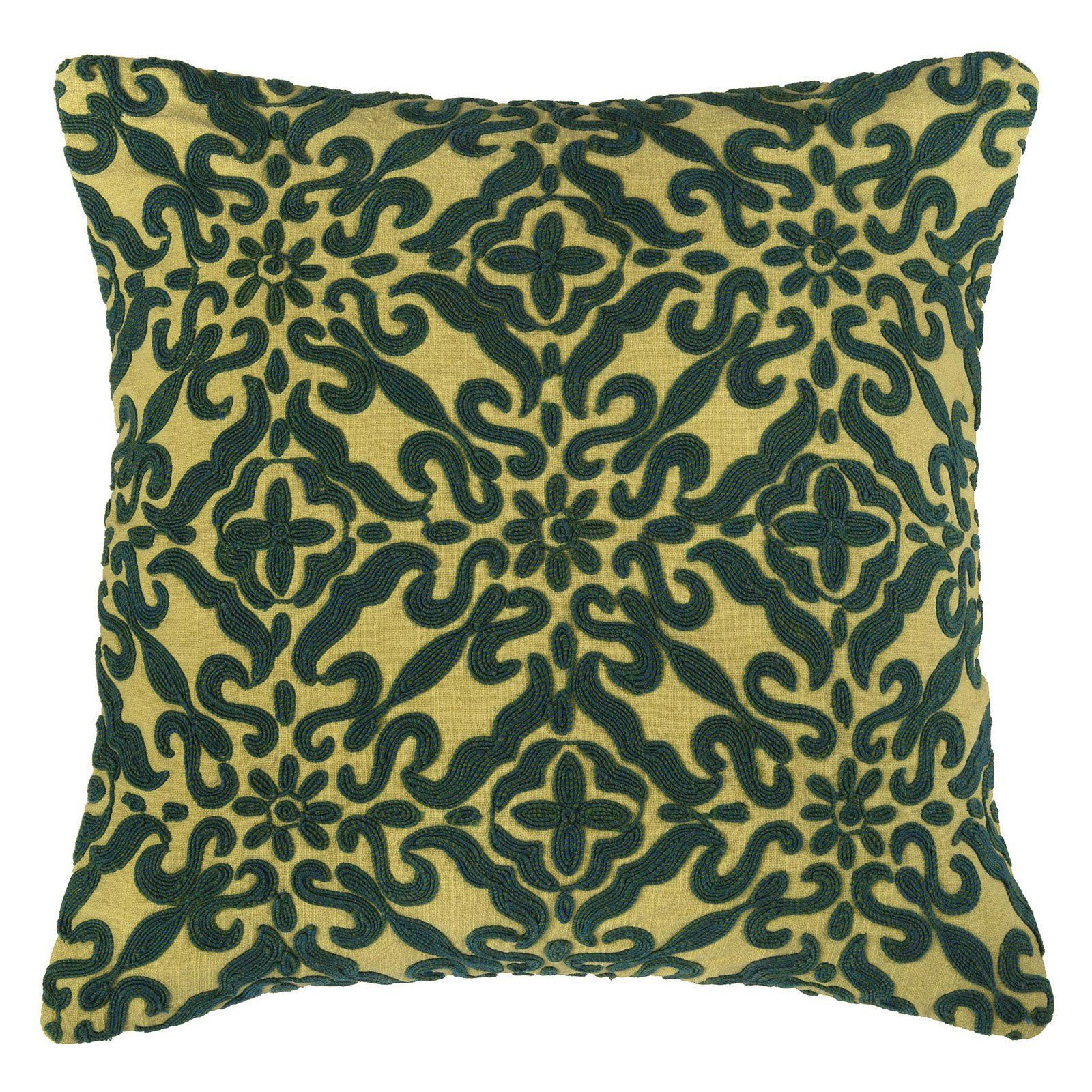Rizzy home hand embroidery green scrolls decorative throw pillow