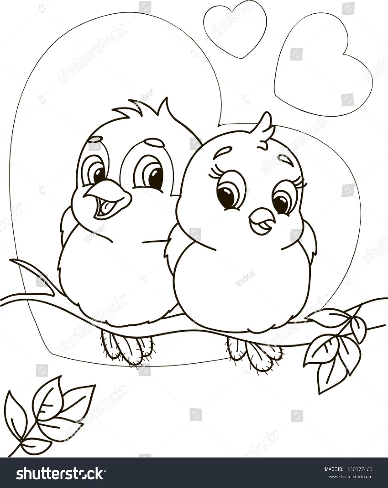 Coloring Page Outline Of Cartoon Cute Birds Vector Illustration
