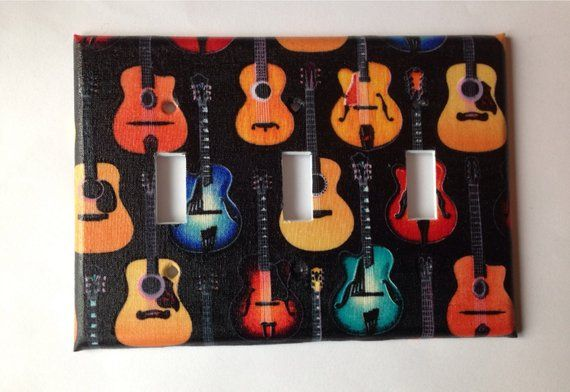 ACOUSTIC GUITAR  MUSIC NOTES   LIGHT SWITCH COVER PLATE OT OUTLET