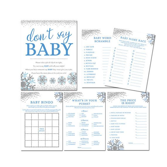 Baby Shower Games, Winter Baby Shower Games, Snowflake Baby Shower Games, Boy Baby Shower Games, Pri