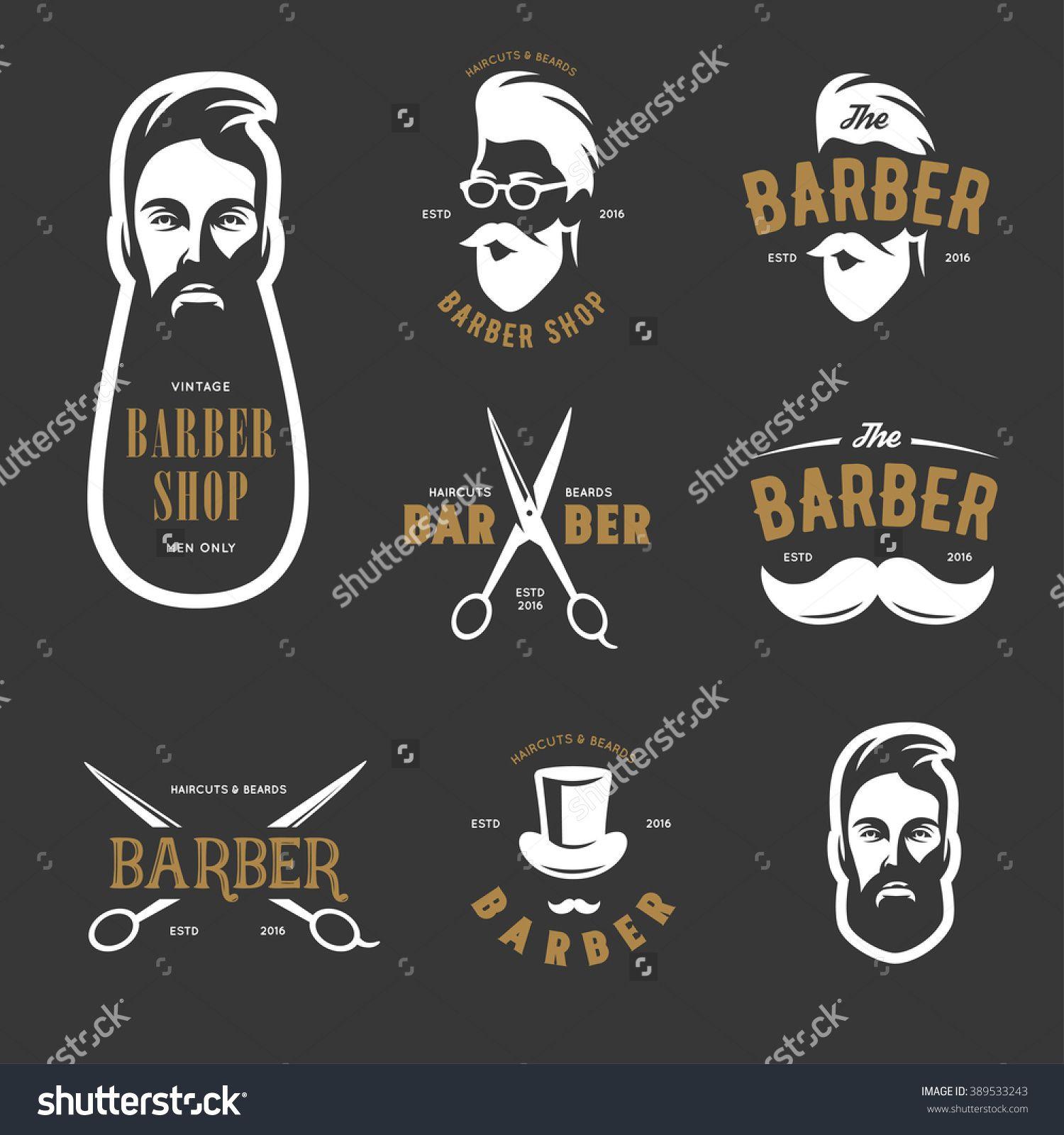 Set Of Vintage Barber Shop Emblems, Label, Badges And