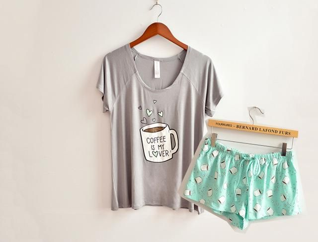 10a0cb27dad3 Cute pajamas sets with white and pink  grey and green color coffee cups  printed women pajama sets hot selling