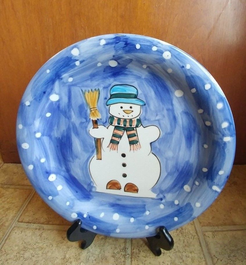 Tabletops Unlimited \ Let it Snow\  Christmas Snowman Dinner Plate & Tabletops Unlimited \