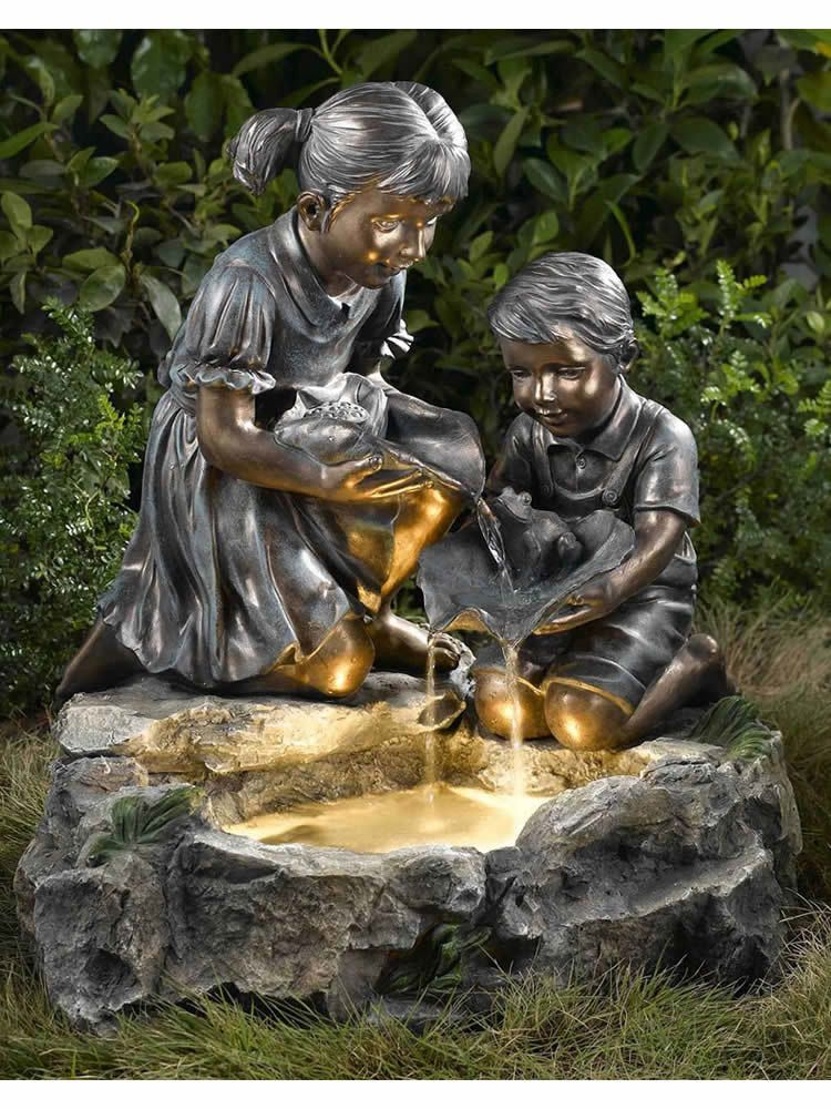 Children and frog at play water feature fountain guentrd indoor fountain garden fountains y - Fuentes de jardines ...
