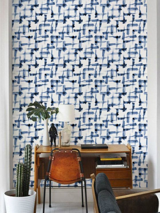 Blue Watercolor Wallpaper Removable Wallpaper Brush Pattern
