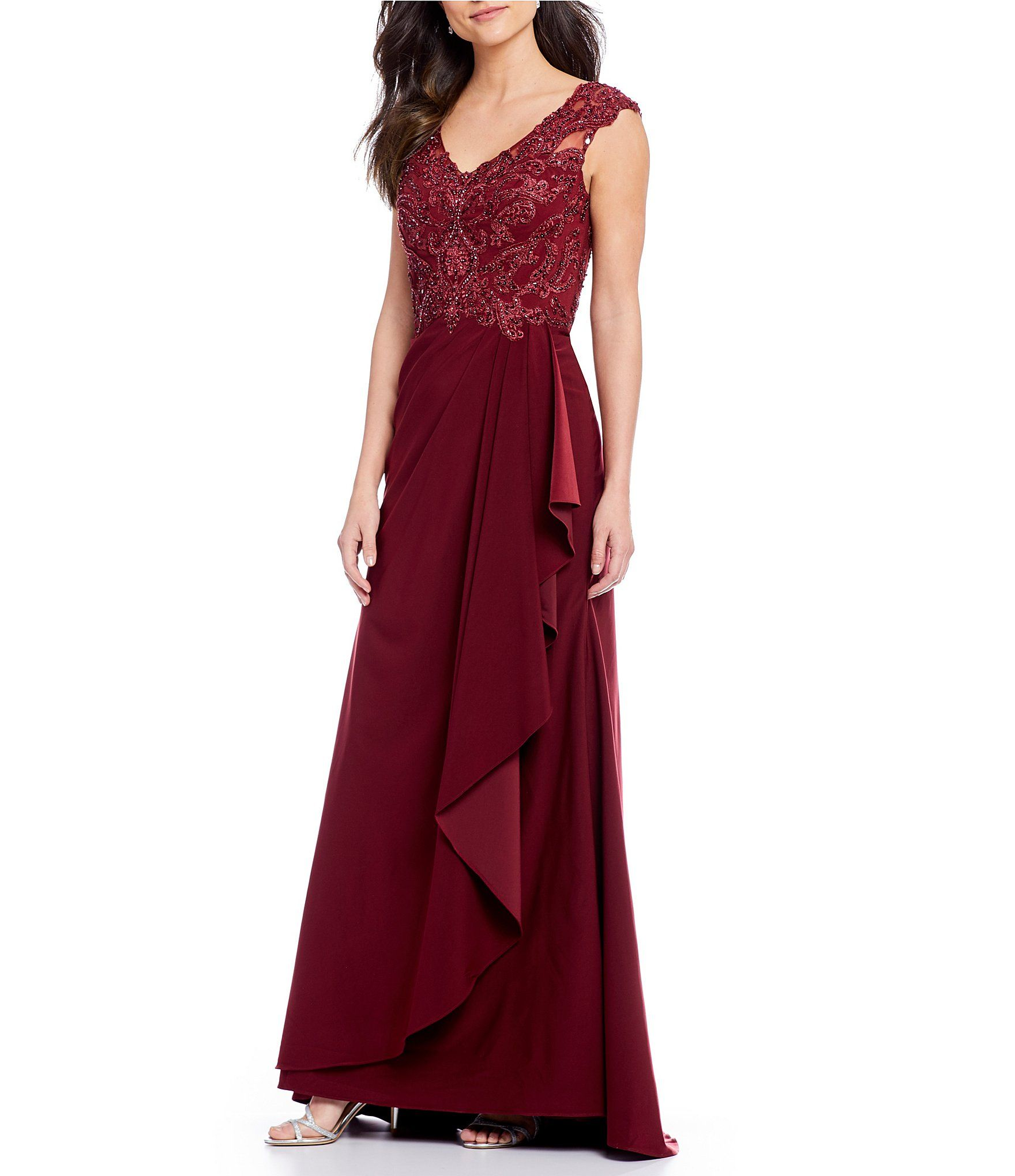 cf3db8e2ffd Shop for MGNY Madeline Gardner New York V-Neck Beaded Bodice Gown at ...