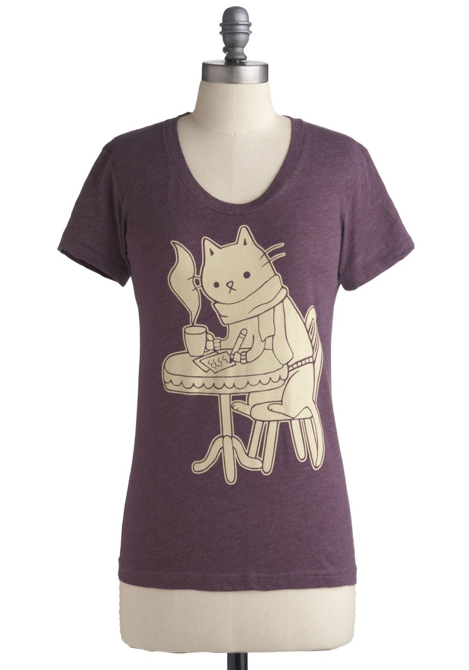 Cat Cafe Tee Tan Cream Print with Animals Casual Short