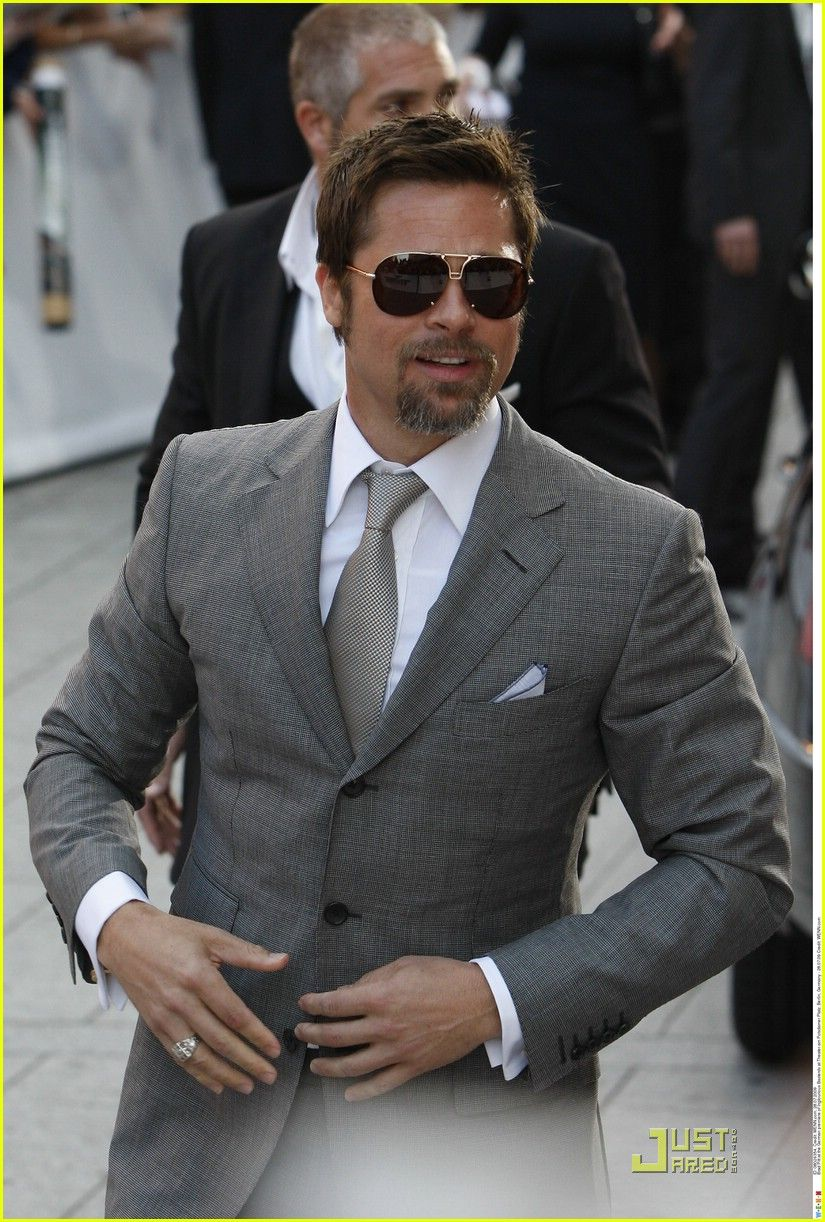 Brad Pitts Hazel Grey Suit Male Actor Celeb Sunglasses