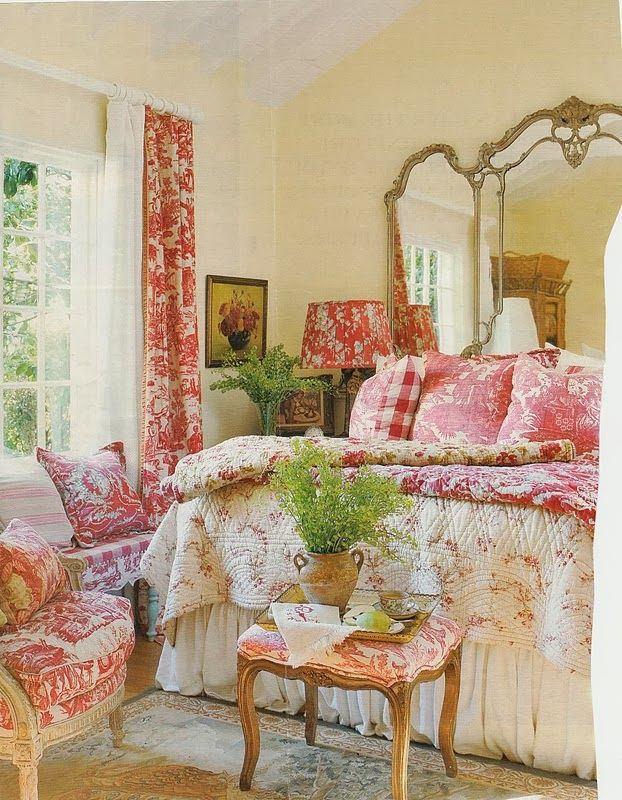 FRENCH COUNTRY COTTAGE: Inspirations...I love the mirror being used for a headboard. Just gorgeous!!!