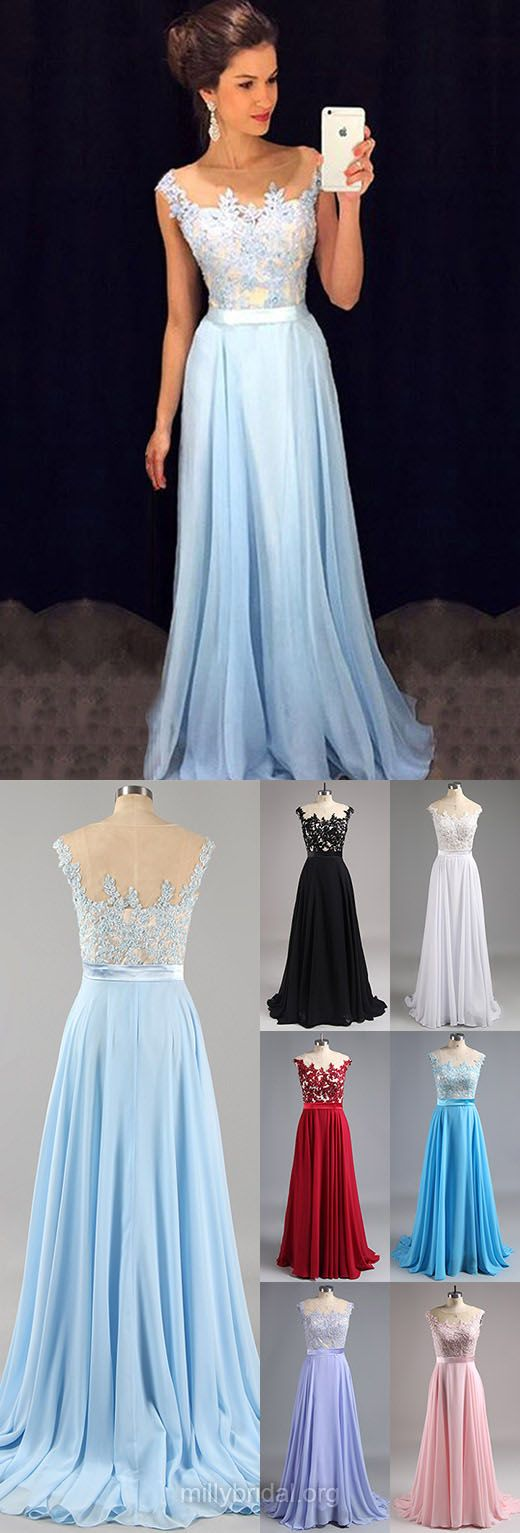 Affordable Blue Long Prom Dresses, Scoop Neck Chiffon Evening ...