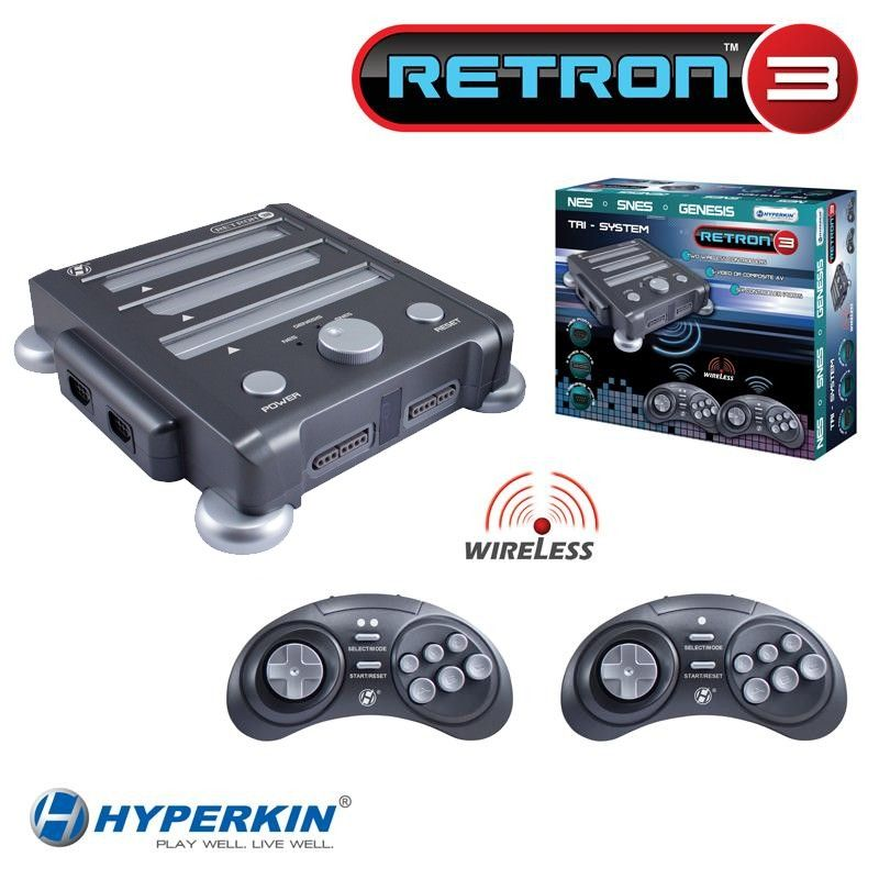 RetroN 3 Video Gaming System - Compatible with original NES, SNES, Super Famicom, Genesis and Mega Drive cartridges