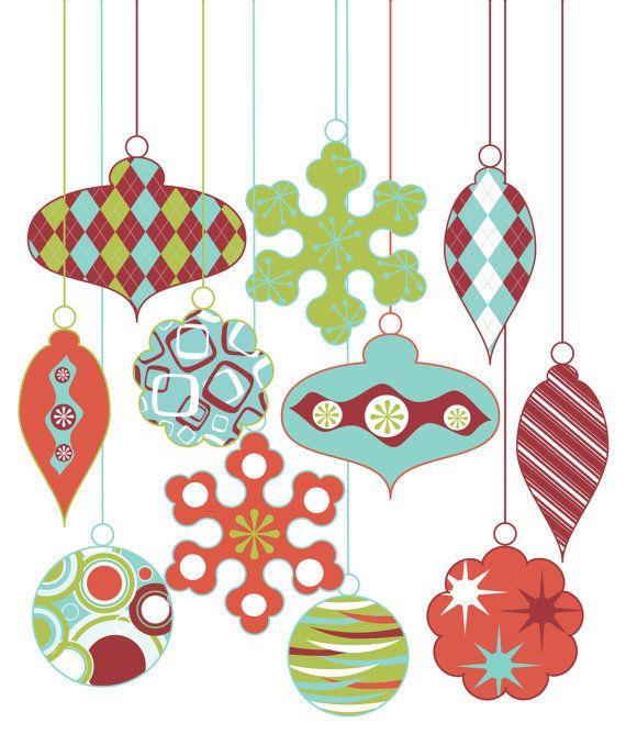 Retro Christmas Party Ideas Part - 30: Retro Christmas Ornament Clipart Clip Art, Vintage Christmas Decorations  Clipart Clip Art Vectors - Commercial Use