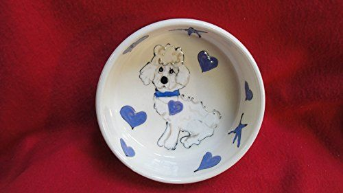 Poodle 10 Dog Bowl for Food or Water Personalized at no Charge Signed by Artist Debby Carman -- You can find out more details at the link of the image.