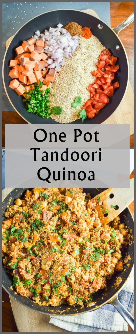and after pictures of fresh ingredients - sweet potatoes, red onion, jalapeno, tomato, and quinoa - and a gluten free, vegan finished one pot Indian dinner