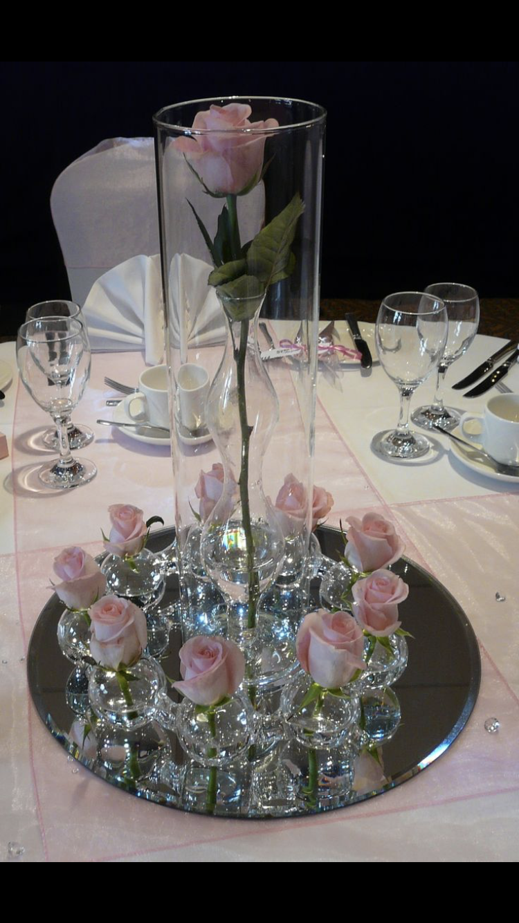 Pin By Kathryn Mcduffie On Centerpieces With Round Mirrors Table Centre Pieces Wedding Wedding Table Centres Wedding Table Designs