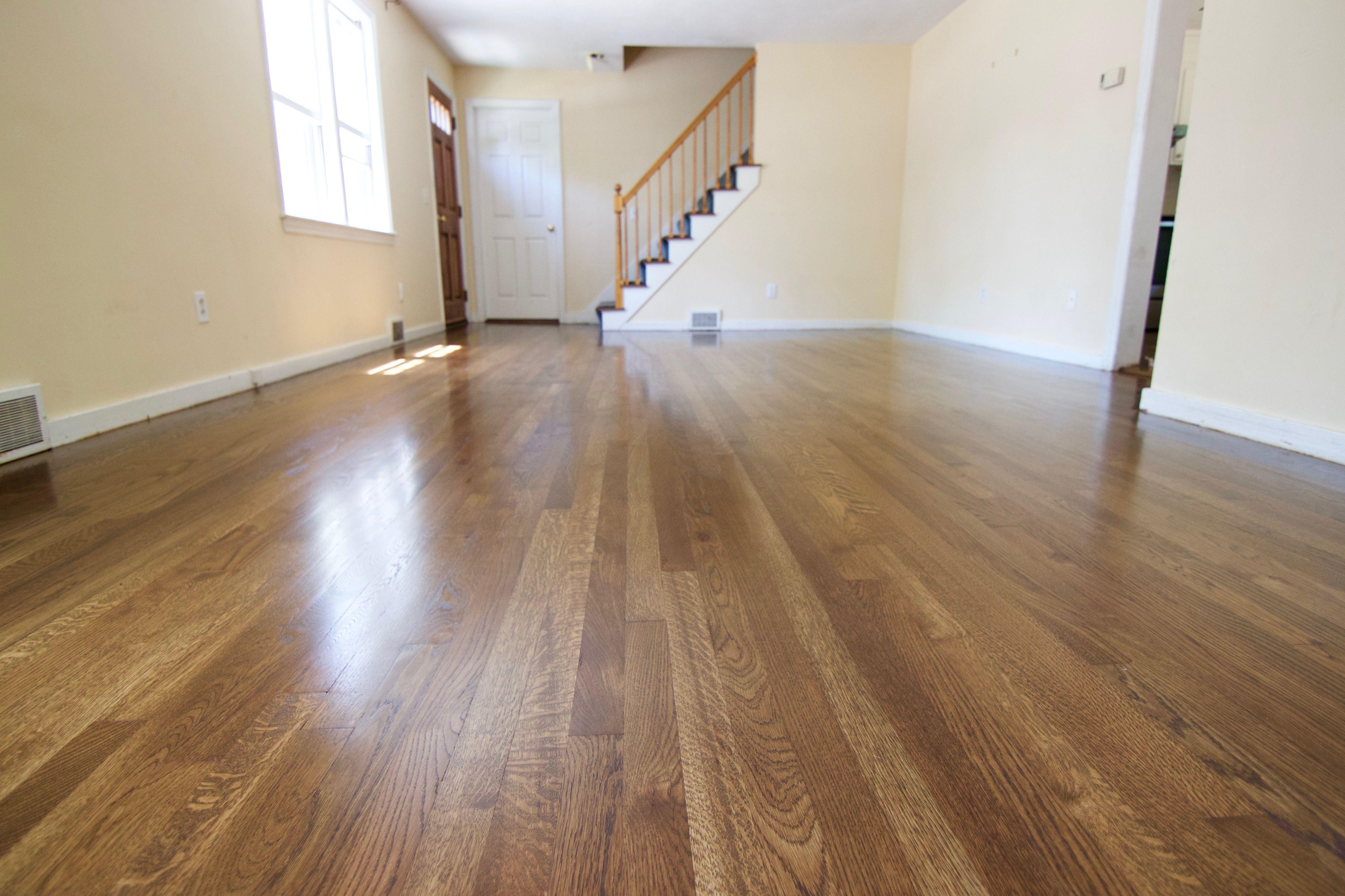 White oak hardwood flooring stained with Bona Medium
