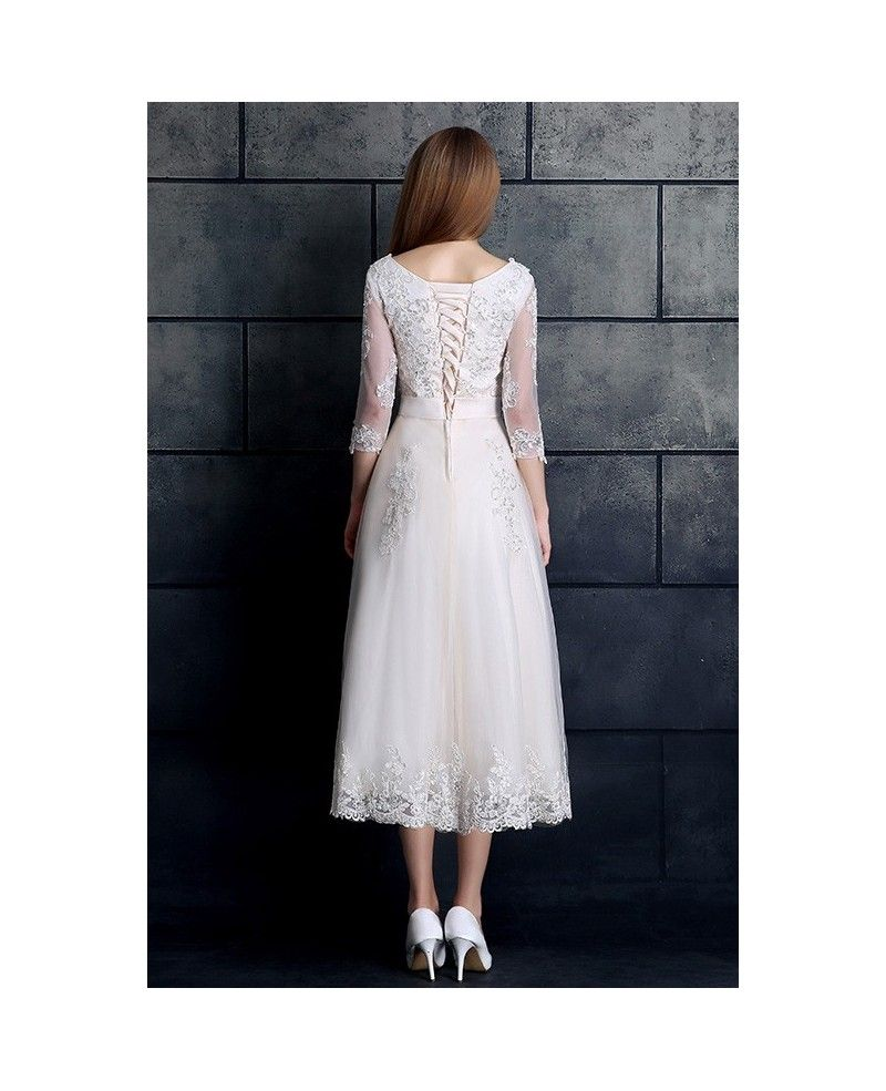 Wedding dress for older bride  Vintage Tea Length Wedding Dress  Sleeve Lace Tulle Aline White