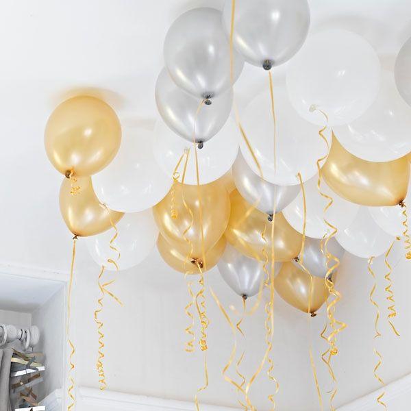 Deko Ballons Ceiling 30 St Weiß Silber Gold Ballon