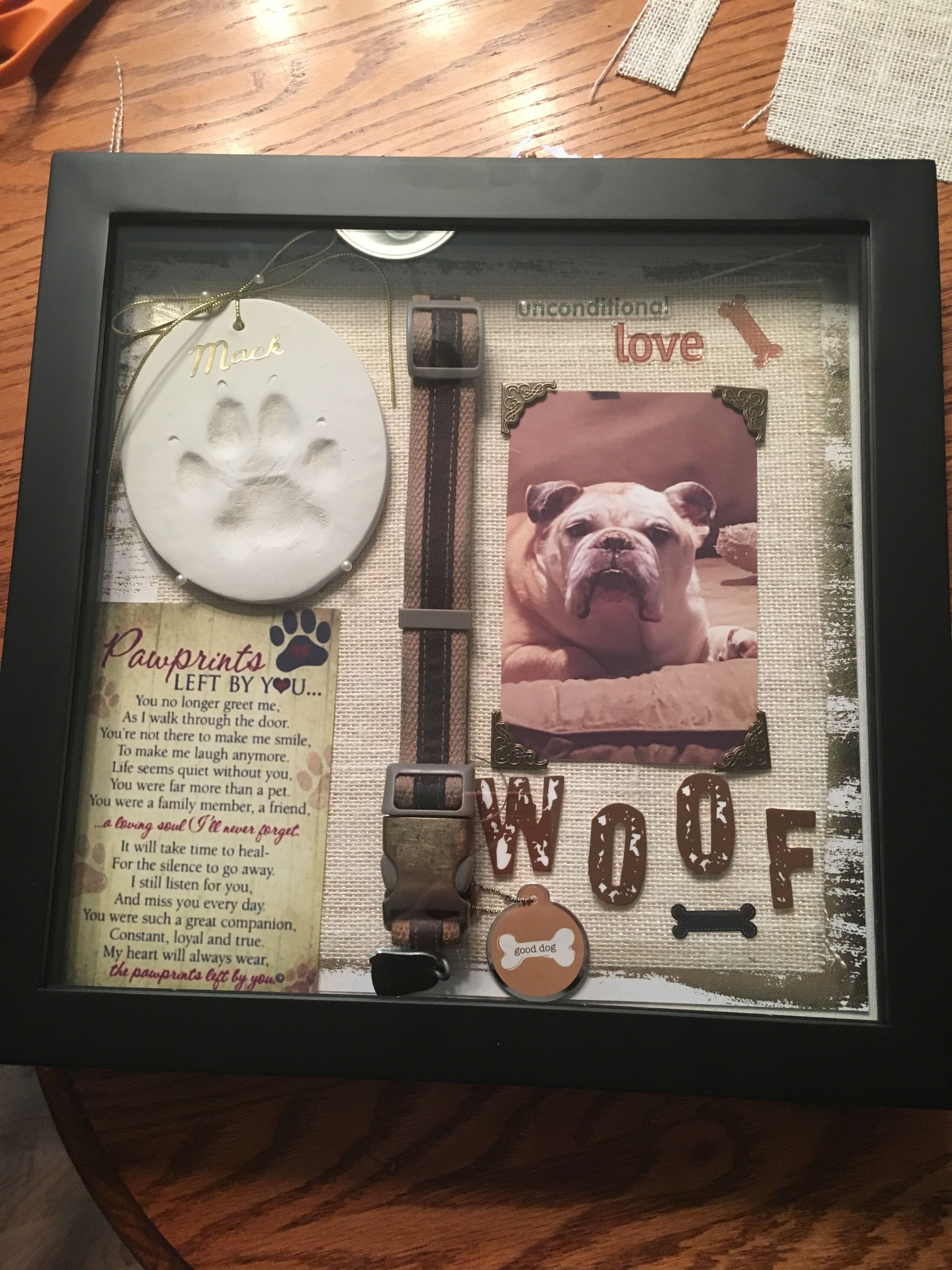 Pet Memorials Dogs Dog Shadow Box