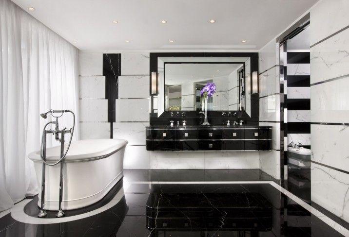 amazing black + white marble bathroom