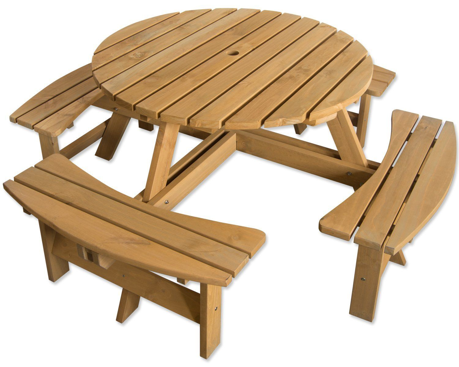 Maribelle 8 Seater Stained Pine Round Garden/Pub Bench and ...