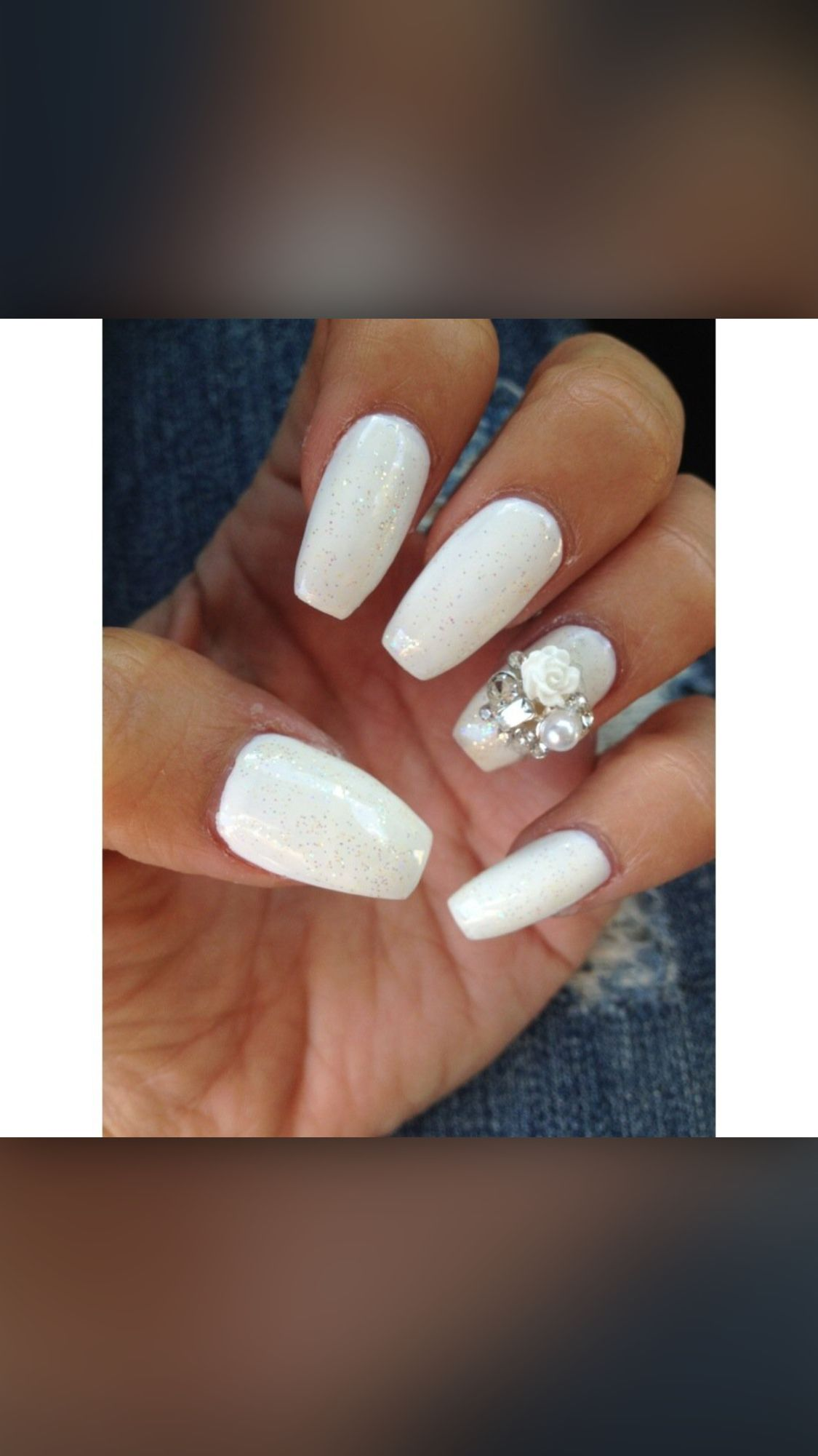 White Gelacrylic Coffin Shaped Nails Nails In 2018 Pinterest