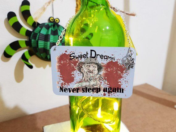 Freddy krueger - halloween wine bottle neck tag - mini metal sign