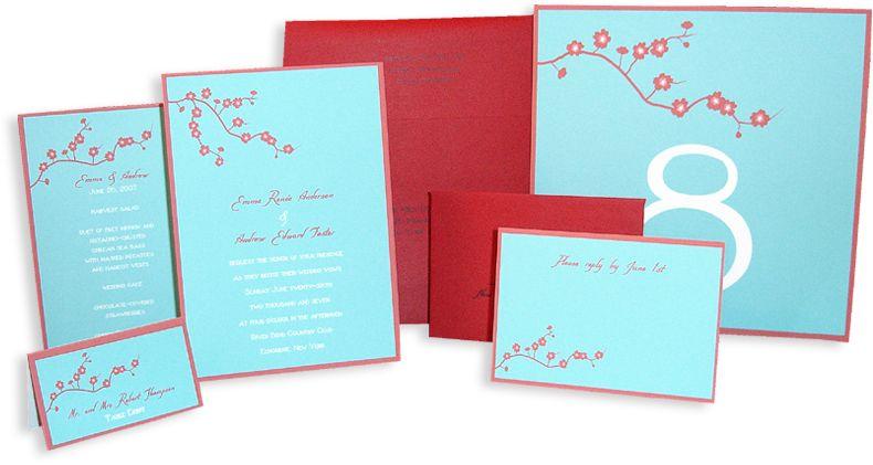 Orange Blossom Wedding Invitation White On Black Card