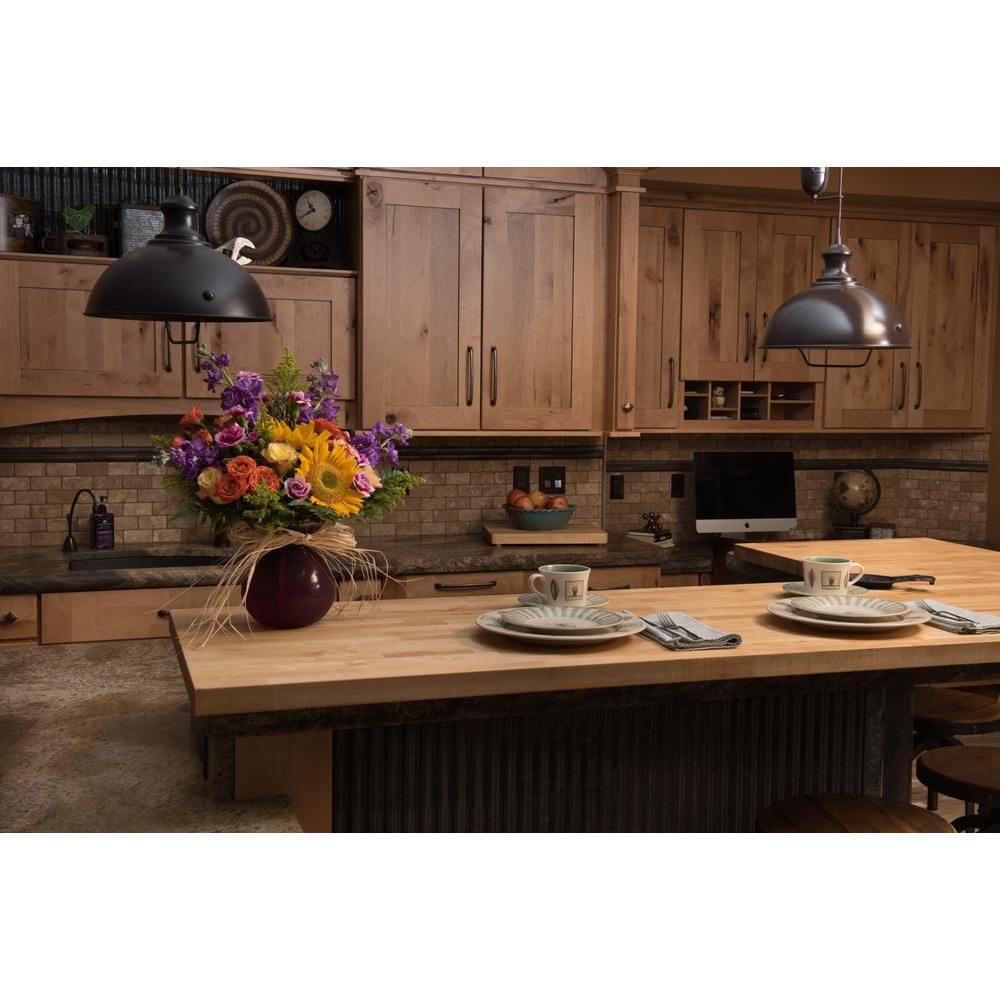 74inx39inx1 5in Wood Butcher Block Countertop In Unfinished Birch Bbct1502574 The Home Depot