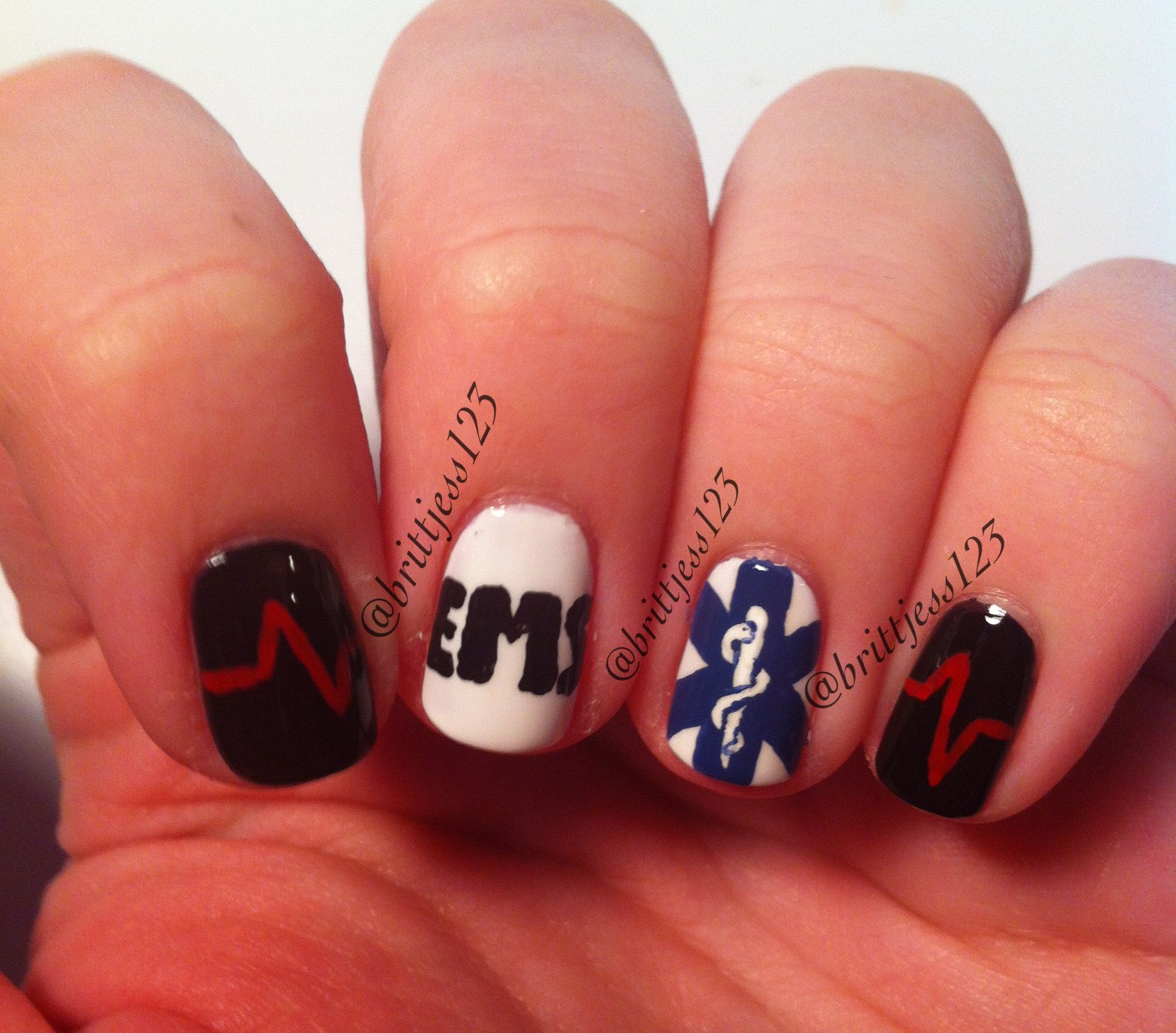 Paramedic nails requested by my friend! | emt shit | Pinterest ...