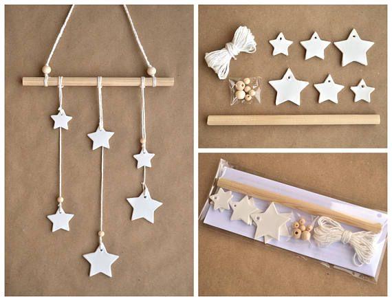 Diy Kit Wall Hanging Stars White Clay Stars Diy Wall Hanging