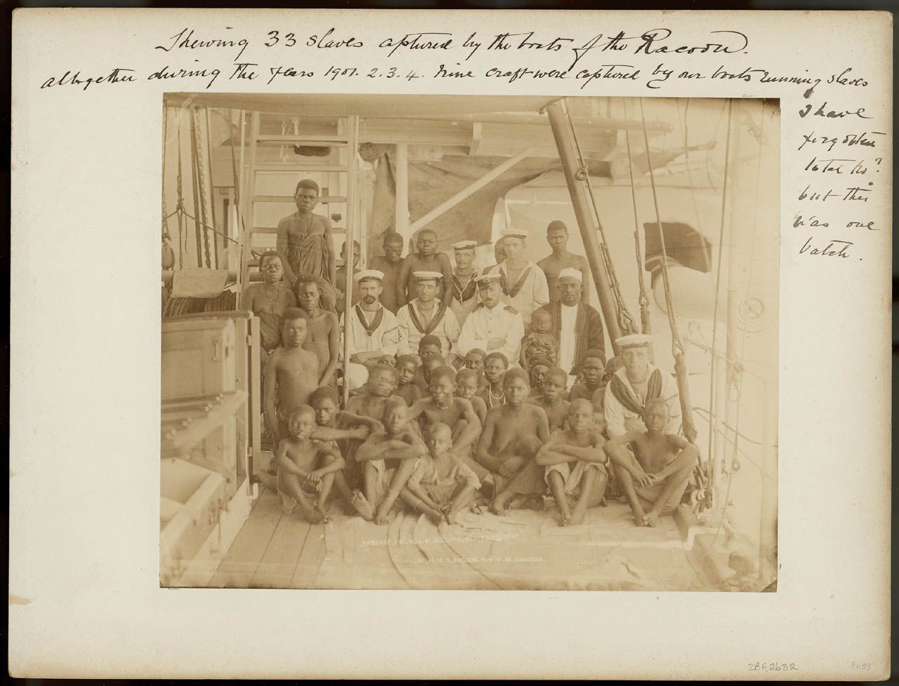 Showing 33 slaves captured by the boats of the 'Racoon' - National Maritime Museum