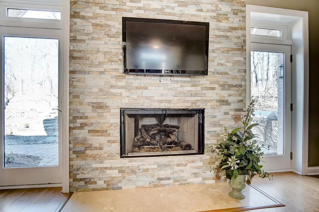 Stone Gas Fireplace With No Mantle Simple And Perfect