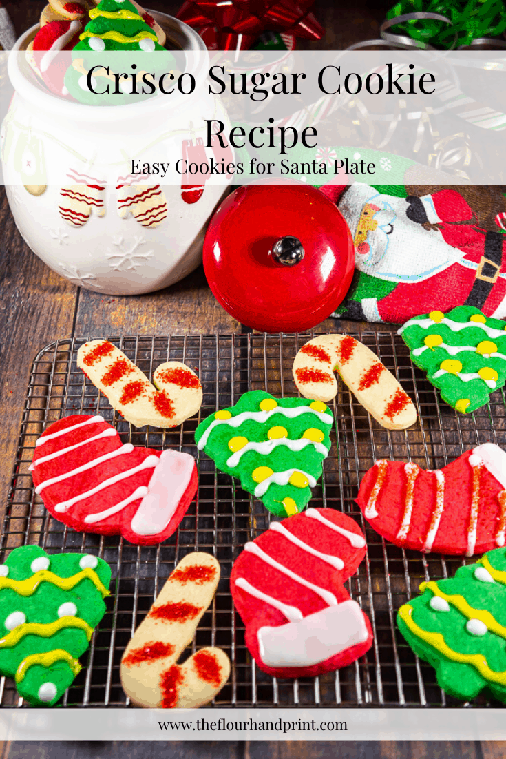 Soft, tender, perfectly sweet Crisco sugar cookies are a delicious option for your santa cookies this year! They're passed down as a holiday sugar cookie tradition and can be colored, cut out, or decorated easily. Try out this crisco sugar cookie recipe and I think you'll be a christmas cookie convert! #christmascookie #santacookies #holidaysugarcookies #criscosugarcookies #criscocookies #theflourhandprint #coloredsugarcookies #cutoutsugarcookies