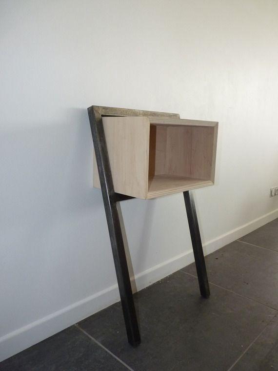 table d 39 appoint de chevet bois et metal console. Black Bedroom Furniture Sets. Home Design Ideas