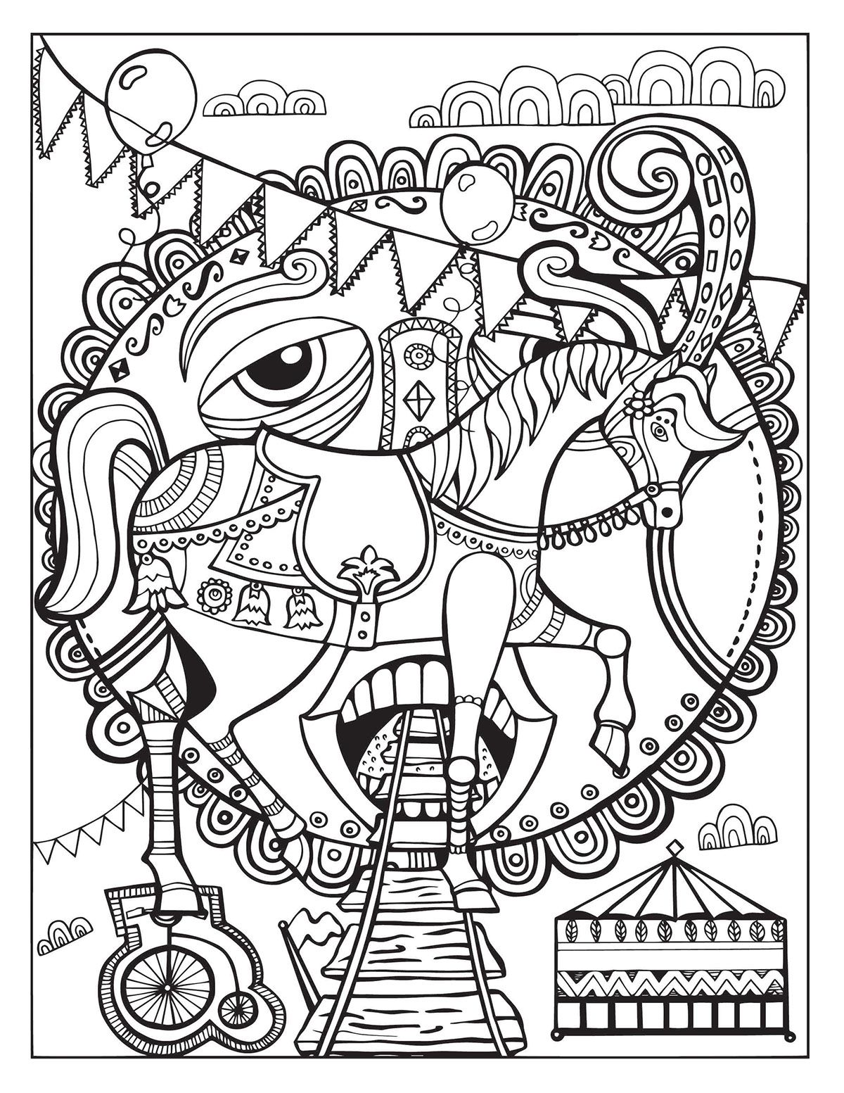 A Day At The Circus Coloring Page On Behance Horse Coloring Pages Cute Coloring Pages Coloring Pages