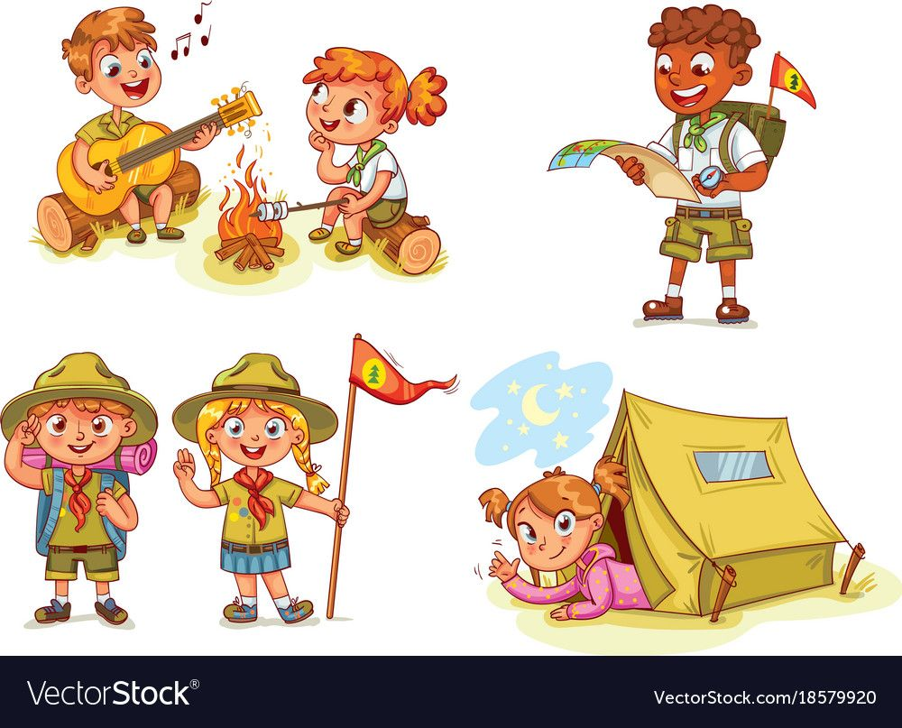 Hiking Recreation Tourist Group Royalty Free Vector Image Funny Cartoon Characters Kids Cartoon Characters Scout