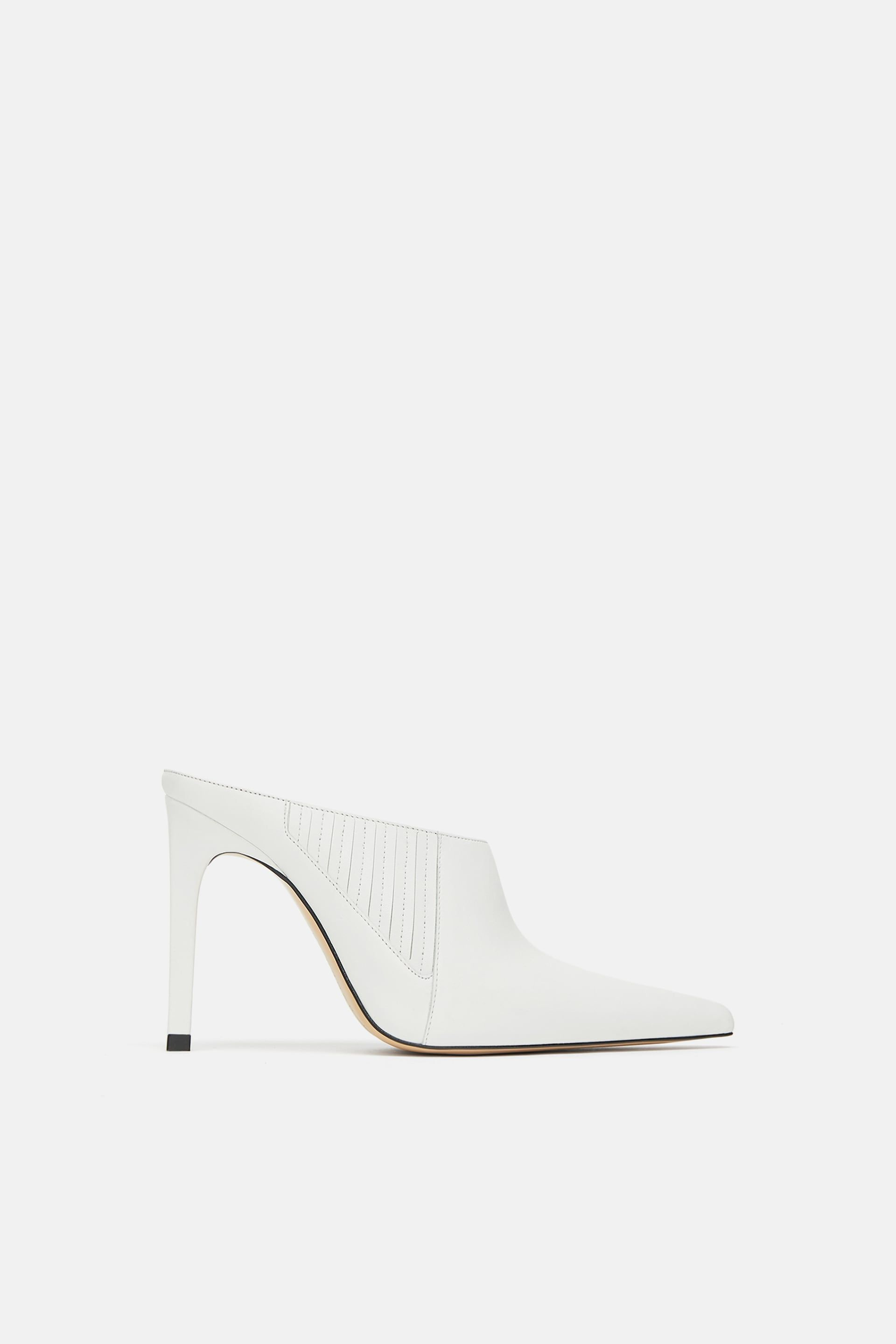 Image 2 Of Leather Heeled Mules From Zara Heeled Mules Heels Leather High Heels