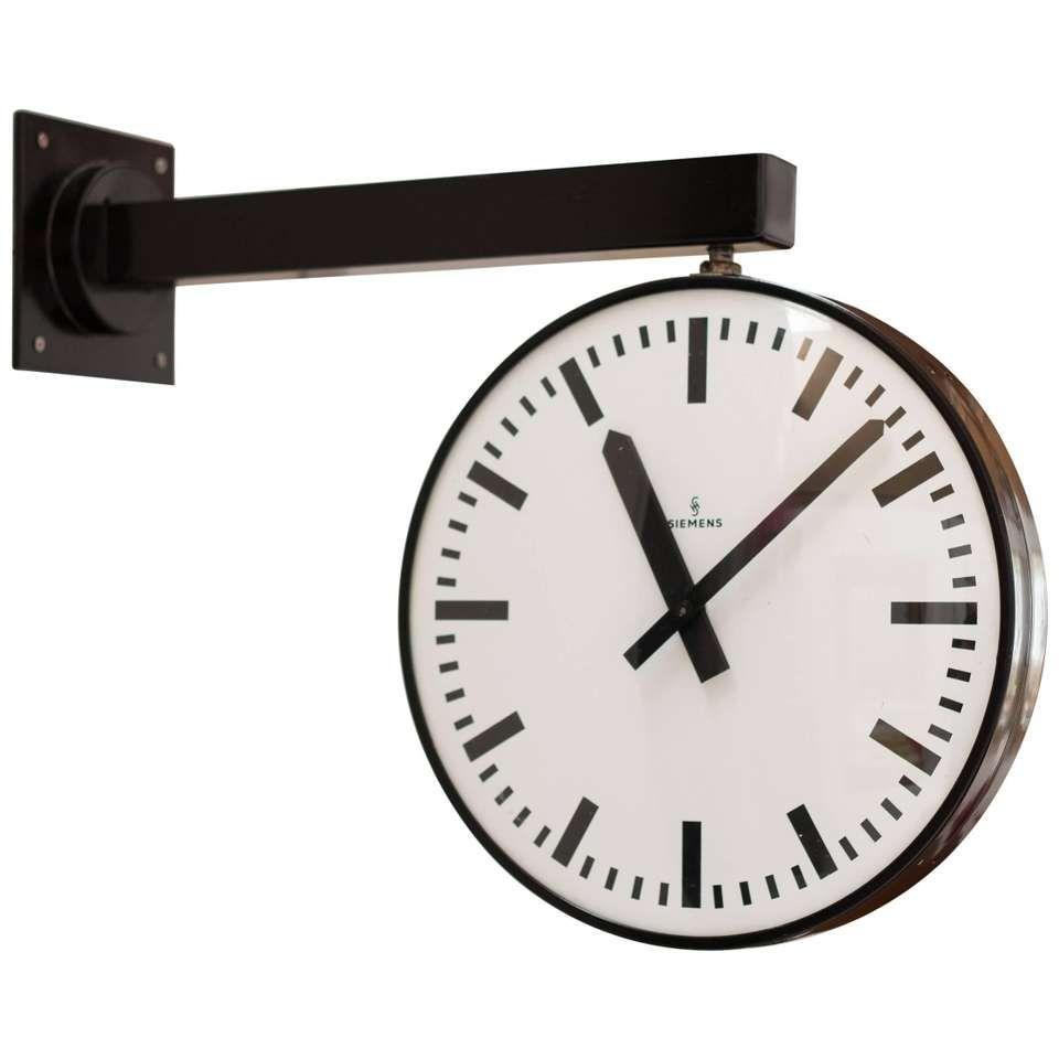 Siemens Double Faced Railway Station Clock Clock Vintage Clock Vintage Wall Clock