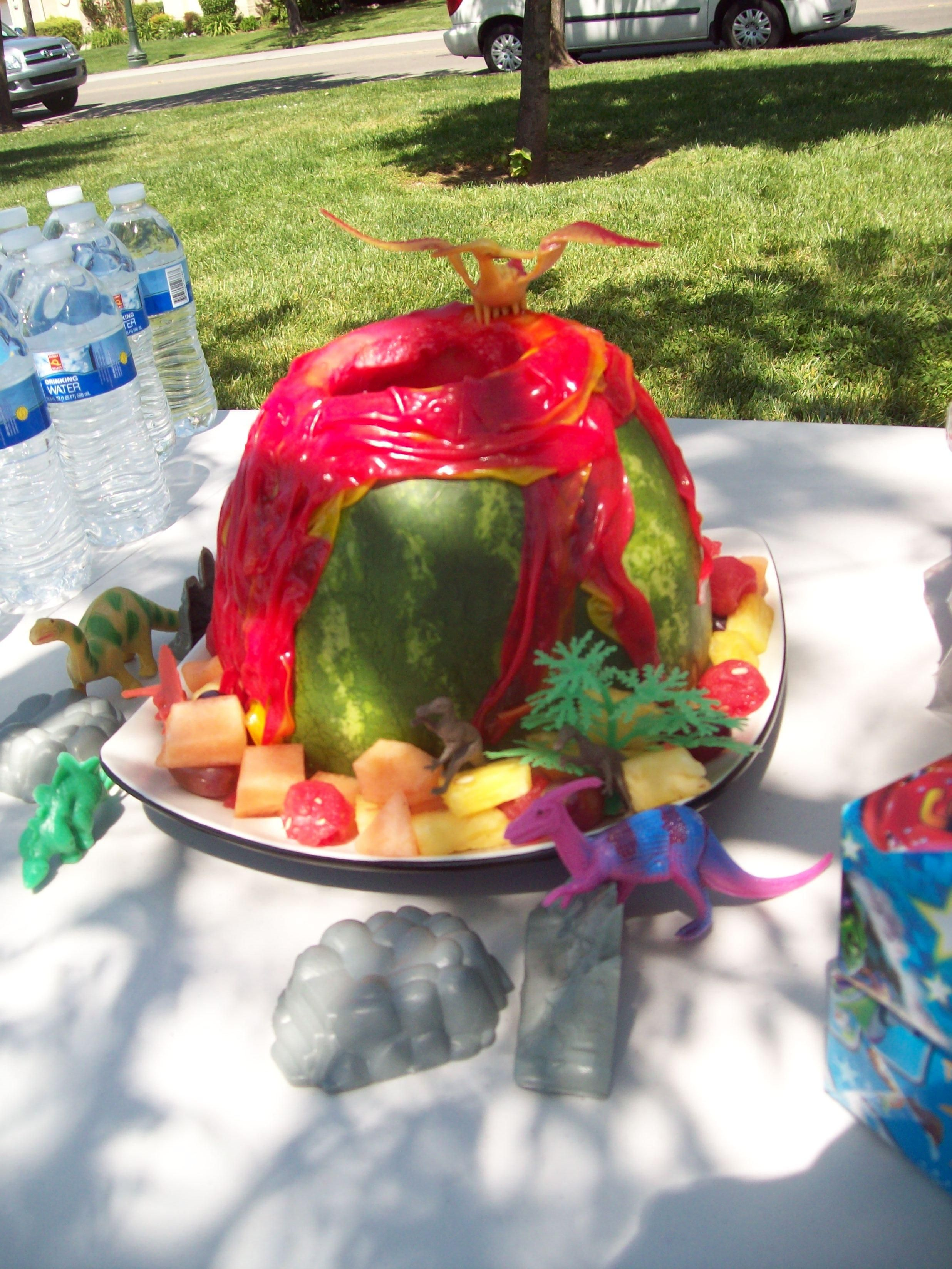Watermelon Volcano Cake Dinosaur theme party for my 5 year old