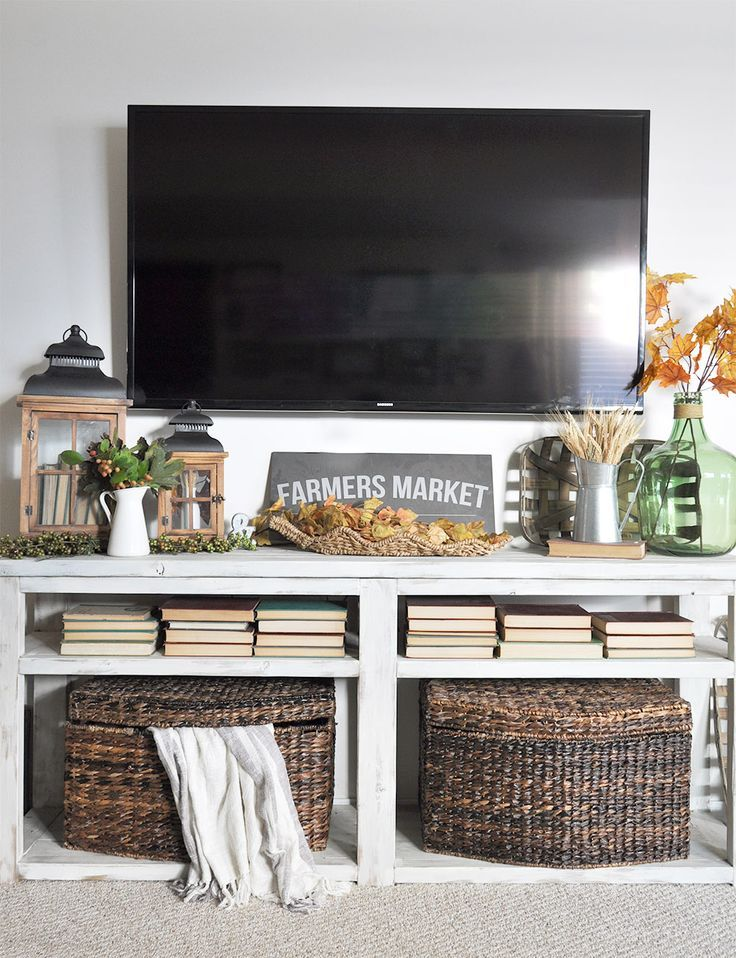 Image result for tv console fall decor | Tv stand decor ...